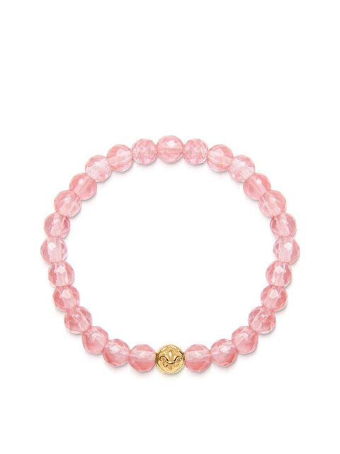 Women's Wristband with Cherry Quartz and Gold - Nialaya Jewelry