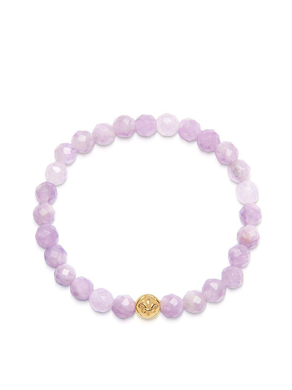 Women's Wristband with Amethyst Lavender and Gold