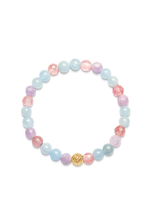 Women's Wristband with Cherry Quartz, Amethyst Lavender and Aquamarine - Nialaya Jewelry