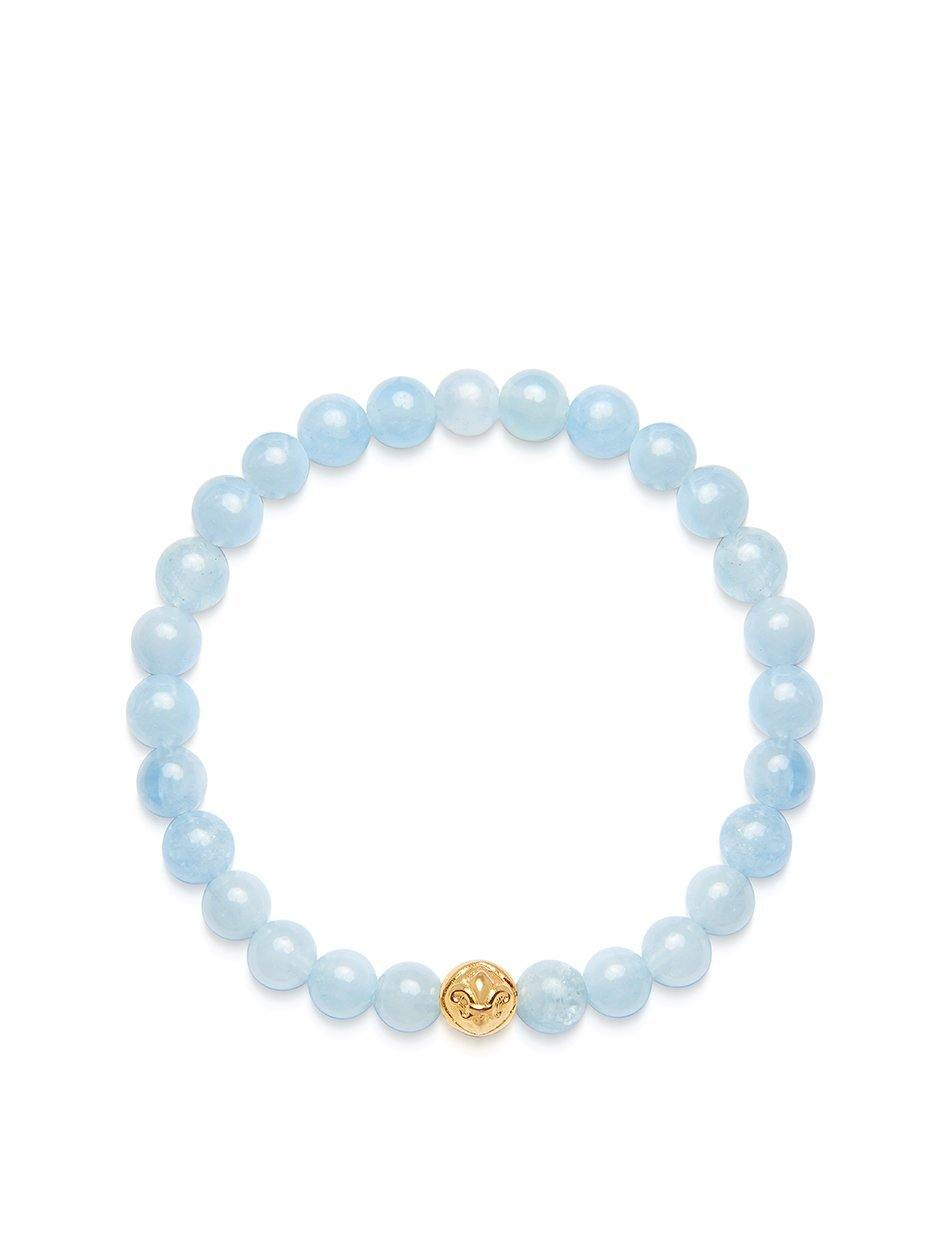 Women's Wristband with Aquamarine and Gold