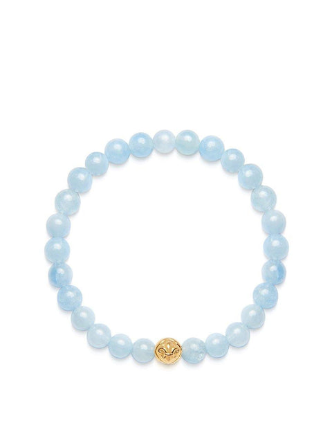 Women's Wristband with Aquamarine and Gold - Nialaya Jewelry
