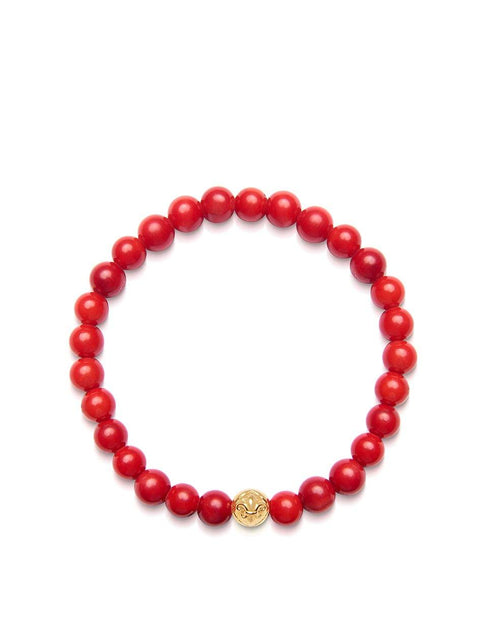 Women's Wristband with Red Vintage Trifocal Bead and Gold - Nialaya Jewelry