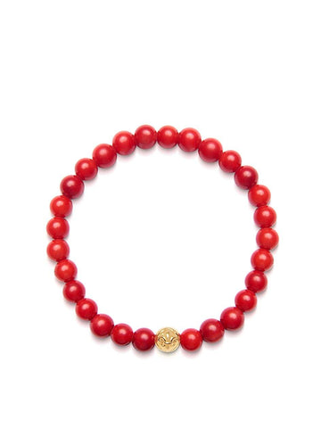 Women's Wristband with Red Jade and Gold