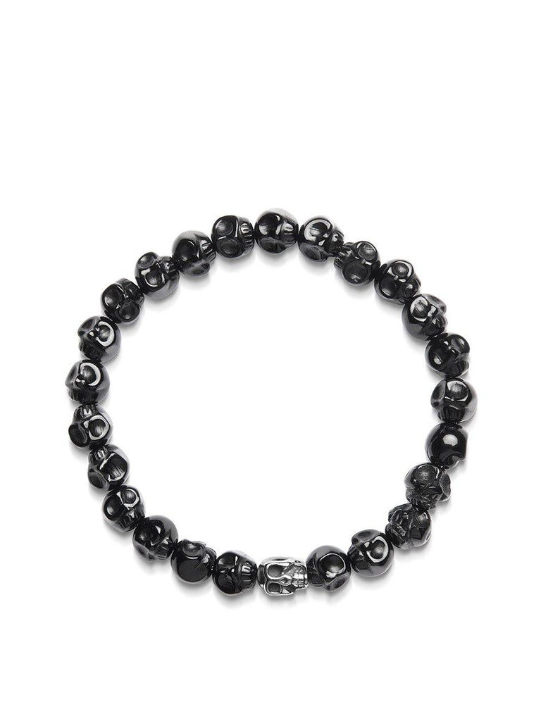 Men's Wristband with Agate Skull Beads and Silver Skull