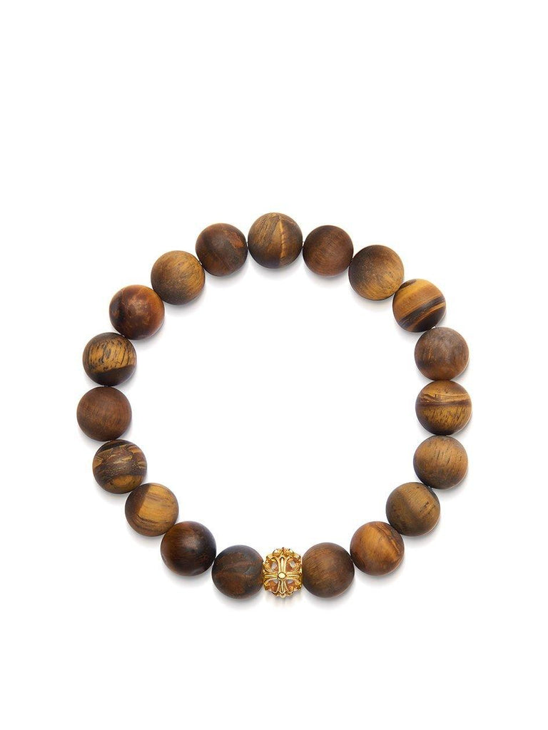 Men's Wristband with Matte Brown Tiger Eye and Gold Cross Bead