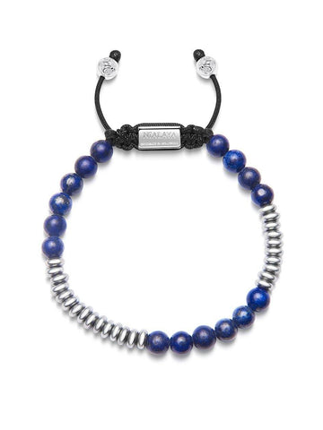 Men's Beaded Bracelet with Blue Lapis and Silver Disc Beads