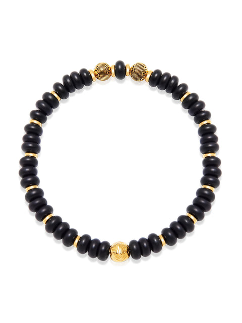 Men's Wristband with Rondelle Matte Onyx and Gold - Nialaya Jewelry