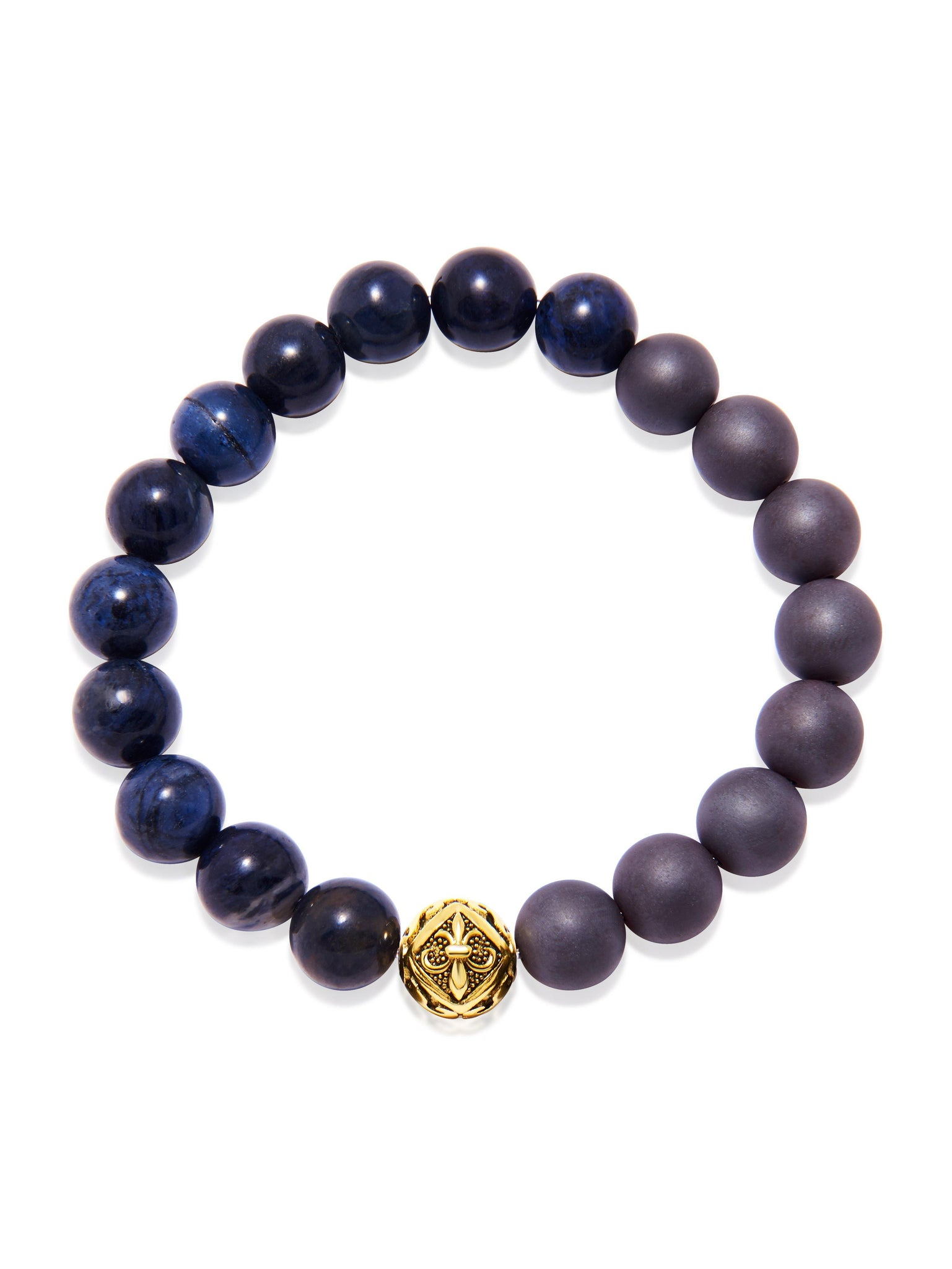 Wristband with Hematite and Dumortierite - Nialaya Jewelry