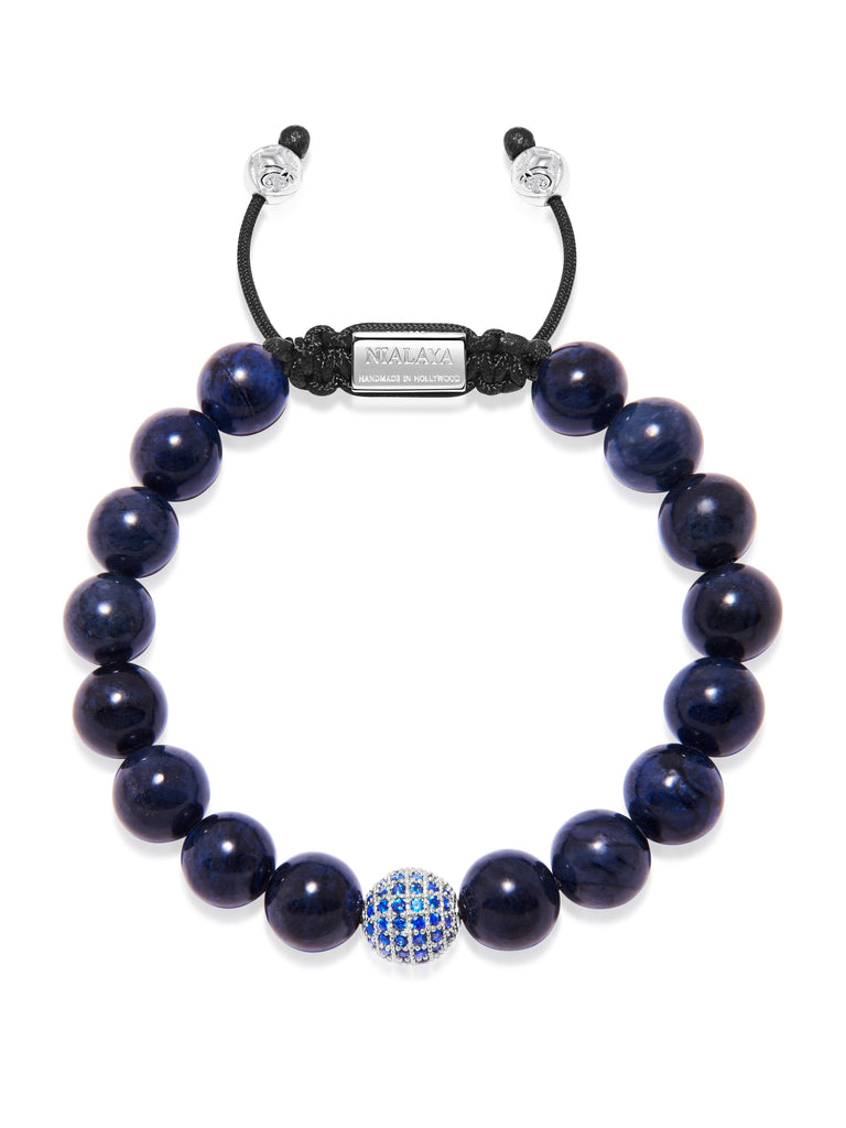 Men's Beaded Bracelet with Blue Dumortierite and Blue CZ
