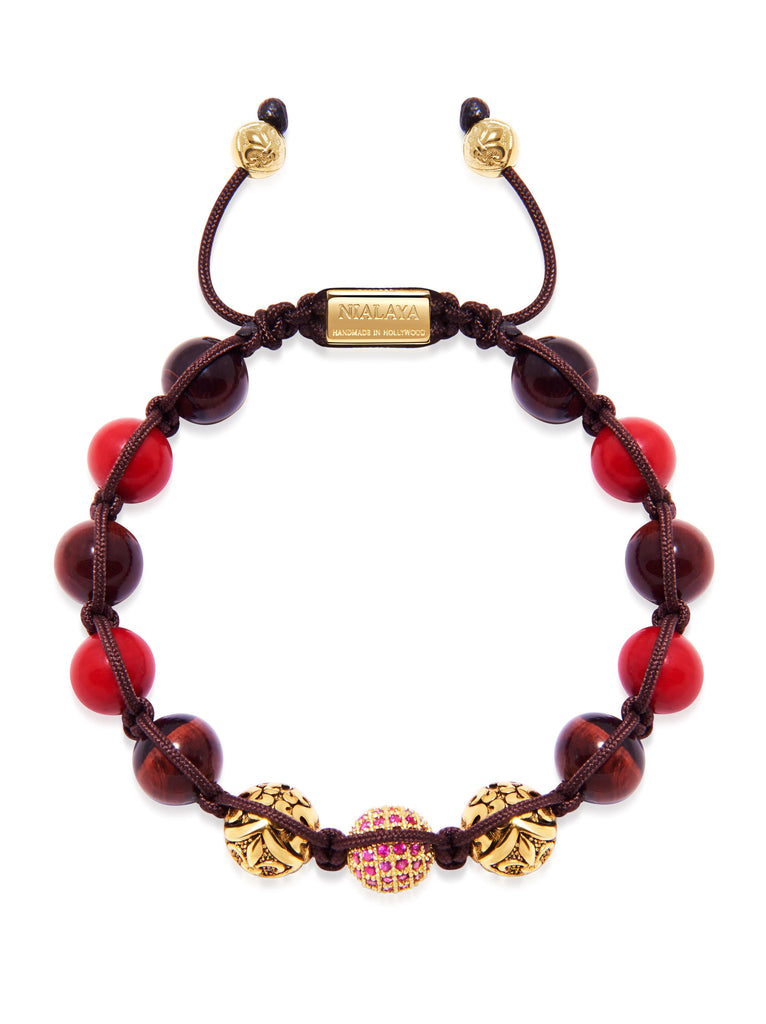 1c4cce89c1ea0 Men's Beaded Bracelet with Red Jade, Red Tiger Eye, and Gold ...