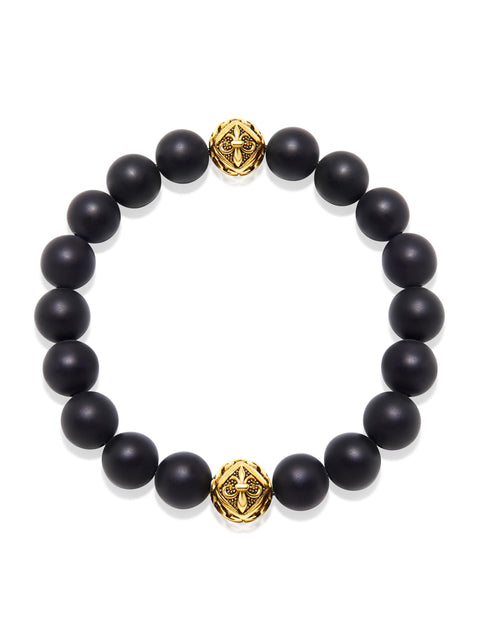 Wristband with Matte Onyx and Gold - Nialaya Jewelry