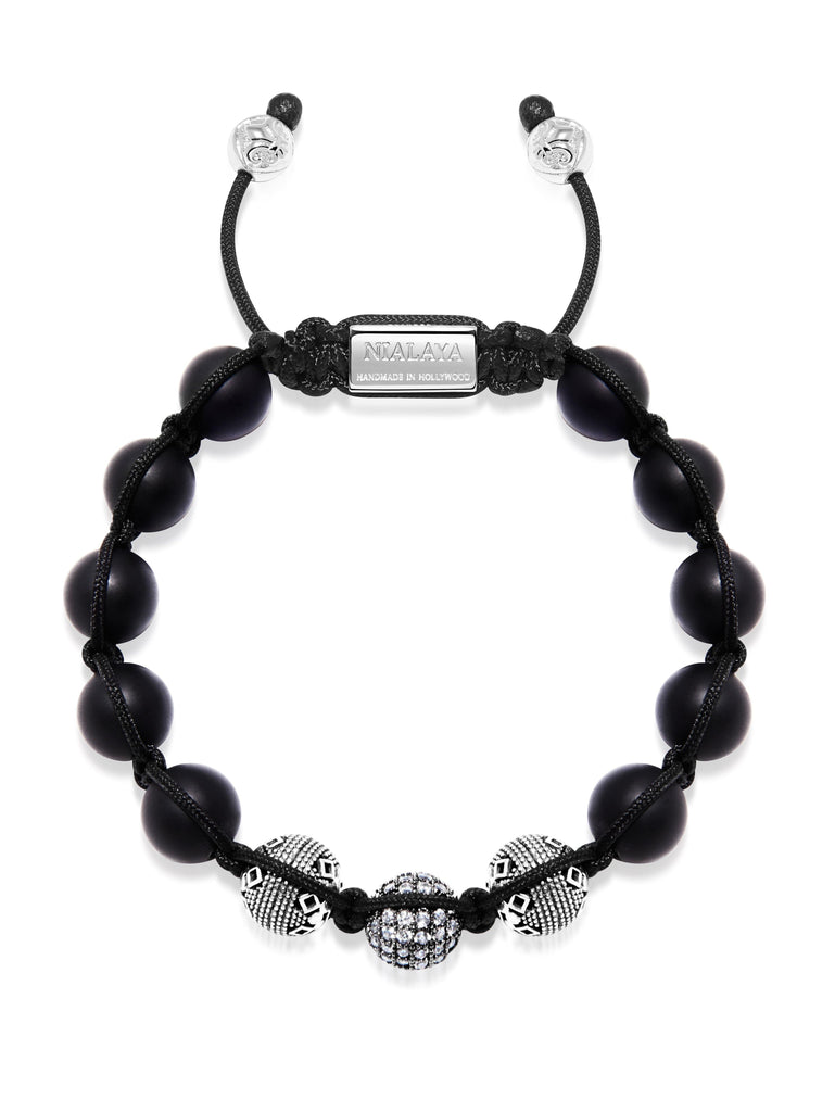 Men's Beaded Bracelet with Matte Onyx and Silver Cairo Beads