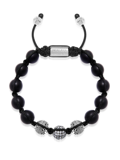 Men's Beaded Bracelet with Matte Onyx and Silver Cairo Beads - Nialaya Jewelry
