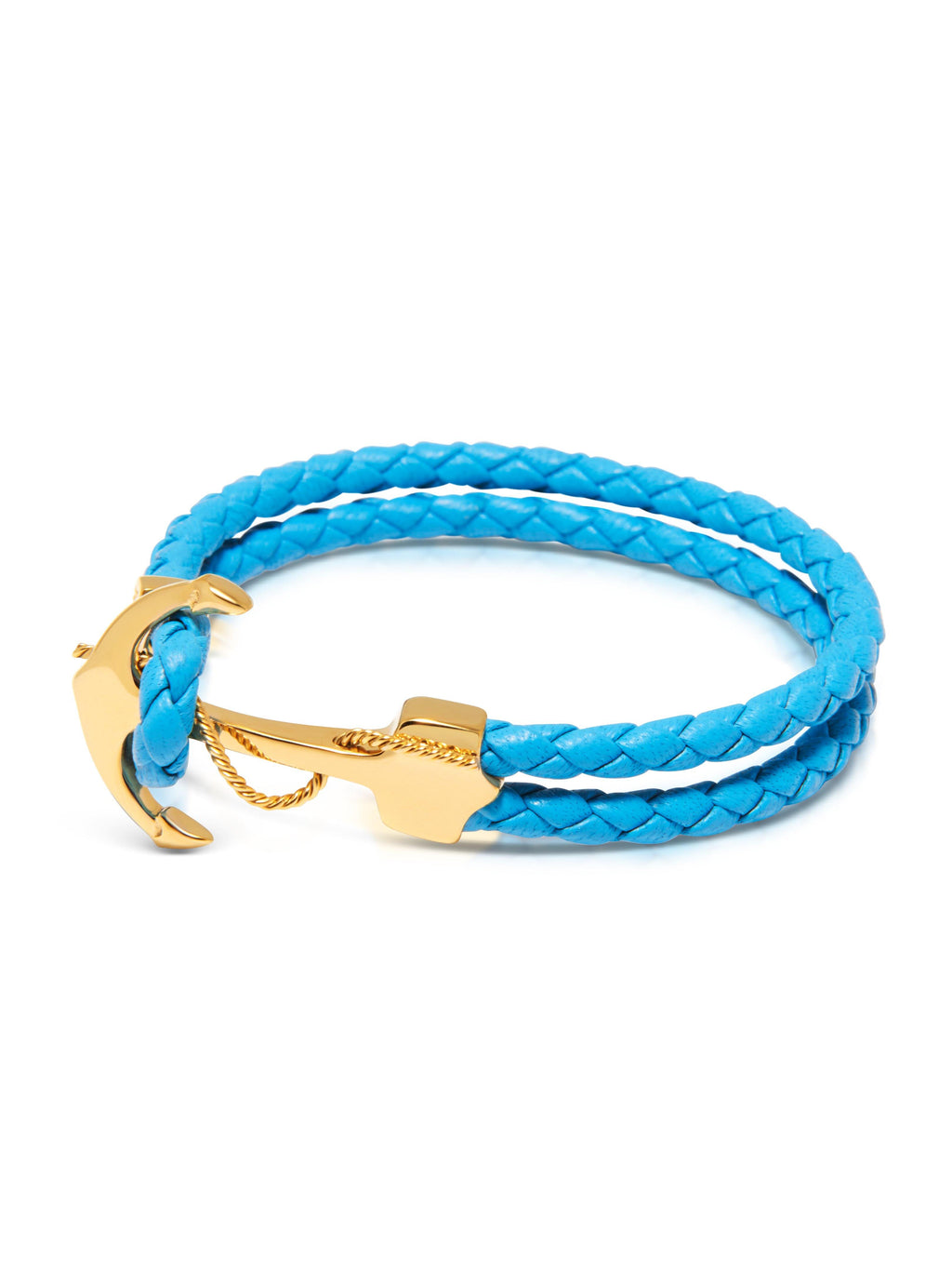 Men's Light Blue Leather Bracelet with Gold Anchor