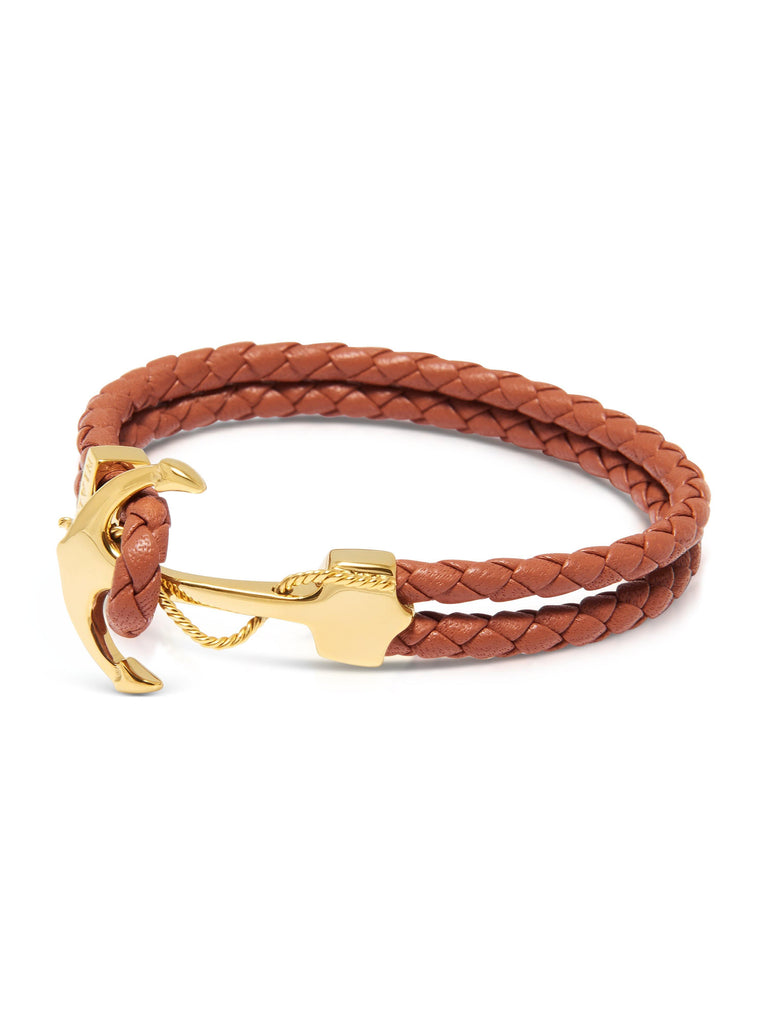 Men's Brown Leather Bracelet with Gold Anchor