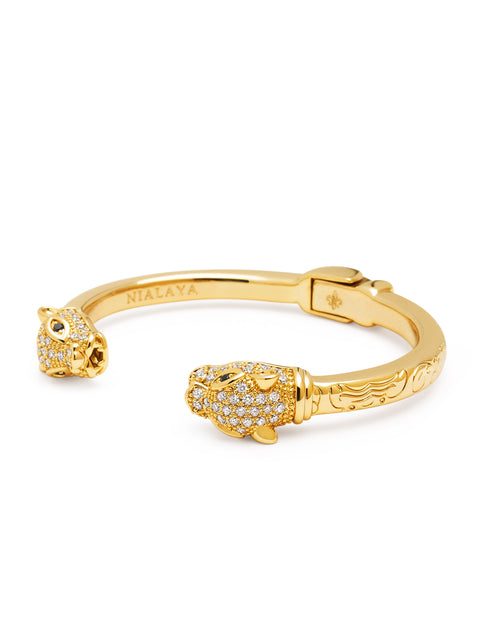 Women's CZ Panther Bangle in Gold