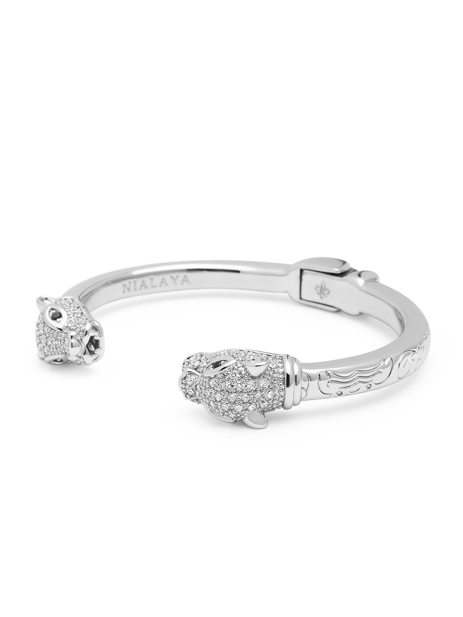 Women's CZ Panther Bangle in Silver