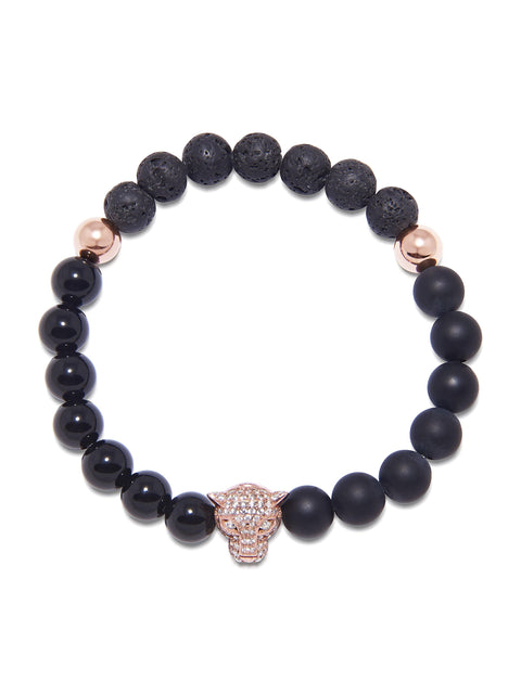 Men's Wristband with Onyx, Agate and Lava Stone and Rose Gold Panther Bead