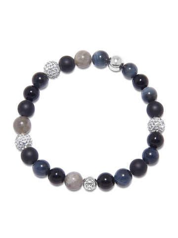 Men's Wristband with Matte Onyx, Agate, Blue Tiger Eye, and Labradorite
