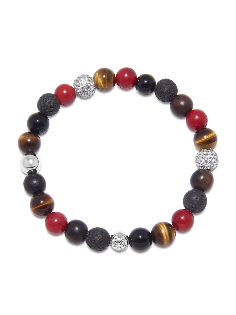 Men's Wristband with Red Vintage Trifocal Beads, Lava Stone, Agate, Brown Tiger Eye and Ebony