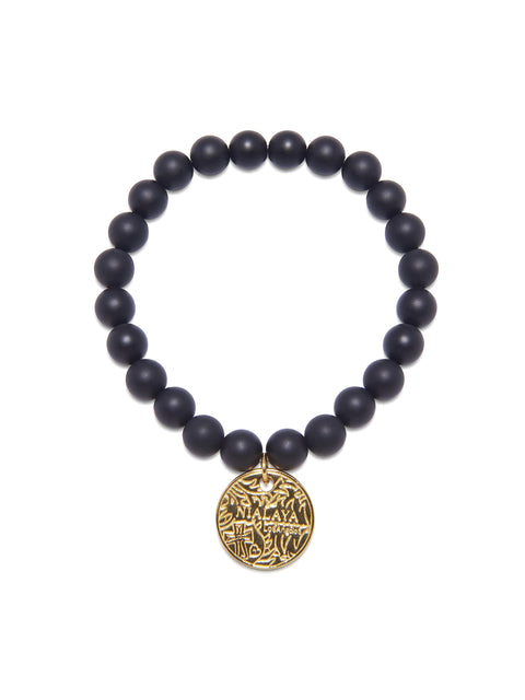 Men's Wristband with Matte Onyx and Gold Coin - Nialaya Jewelry