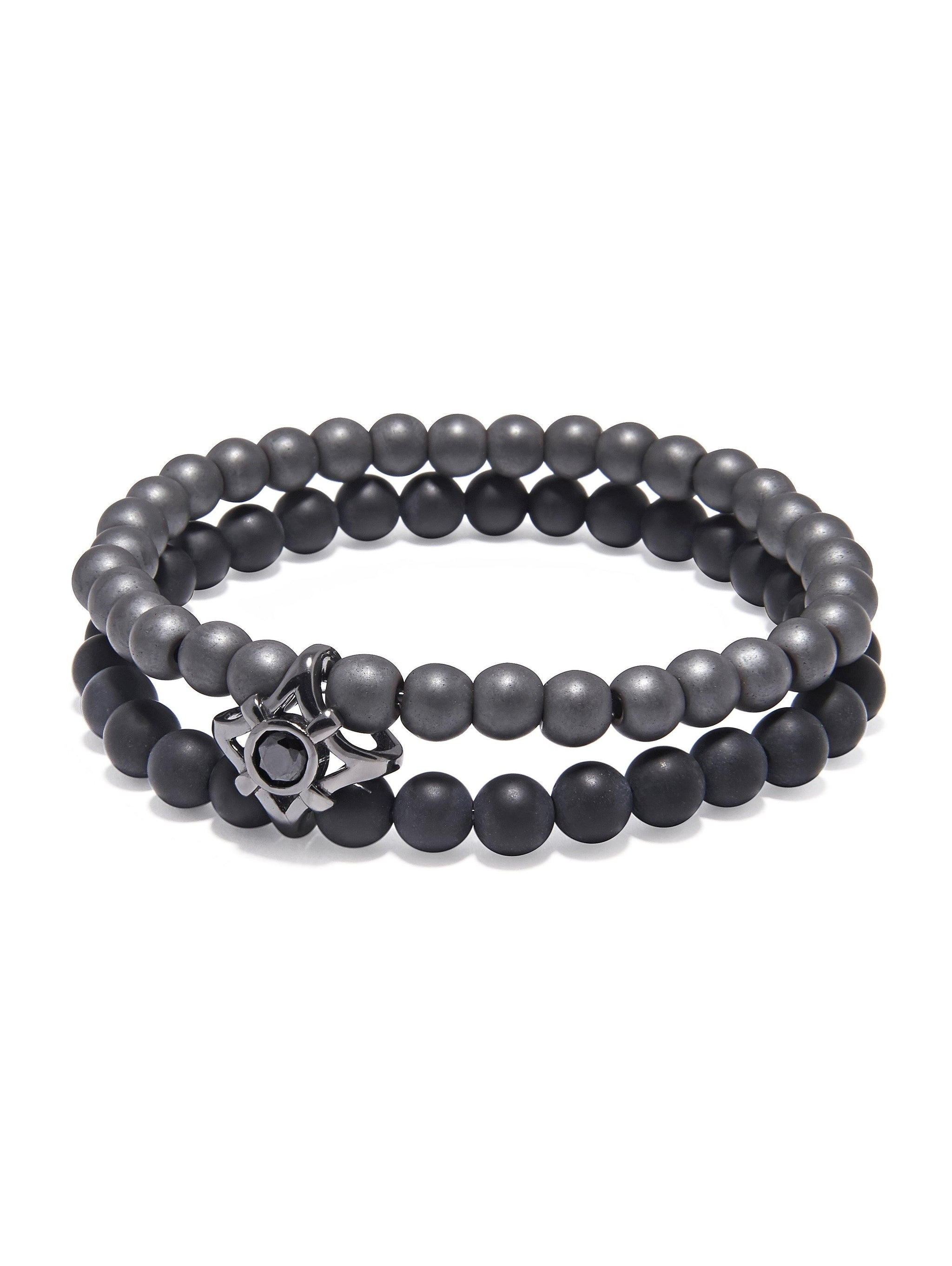 Men's Double Bead Wristband with Matte Onyx and Agate - Nialaya Jewelry