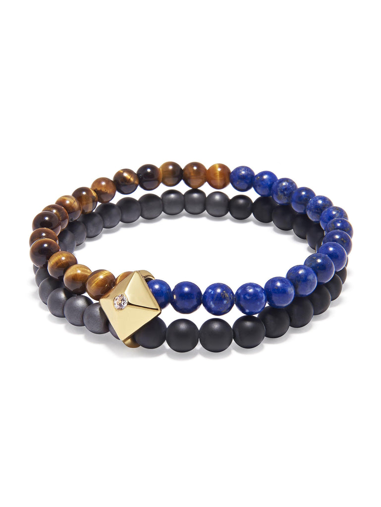 Men's Double Bead Wristband with Brown Tiger Eye, Blue Lapis, Hematite and Matte Onyx