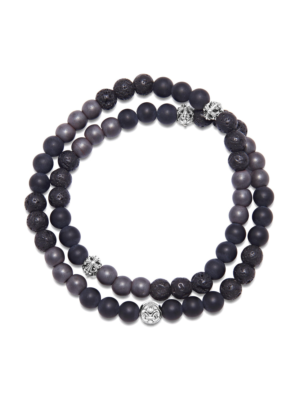 Men's Wrap-Around Bracelet with Matte Onyx, Hematite and Lava Stone