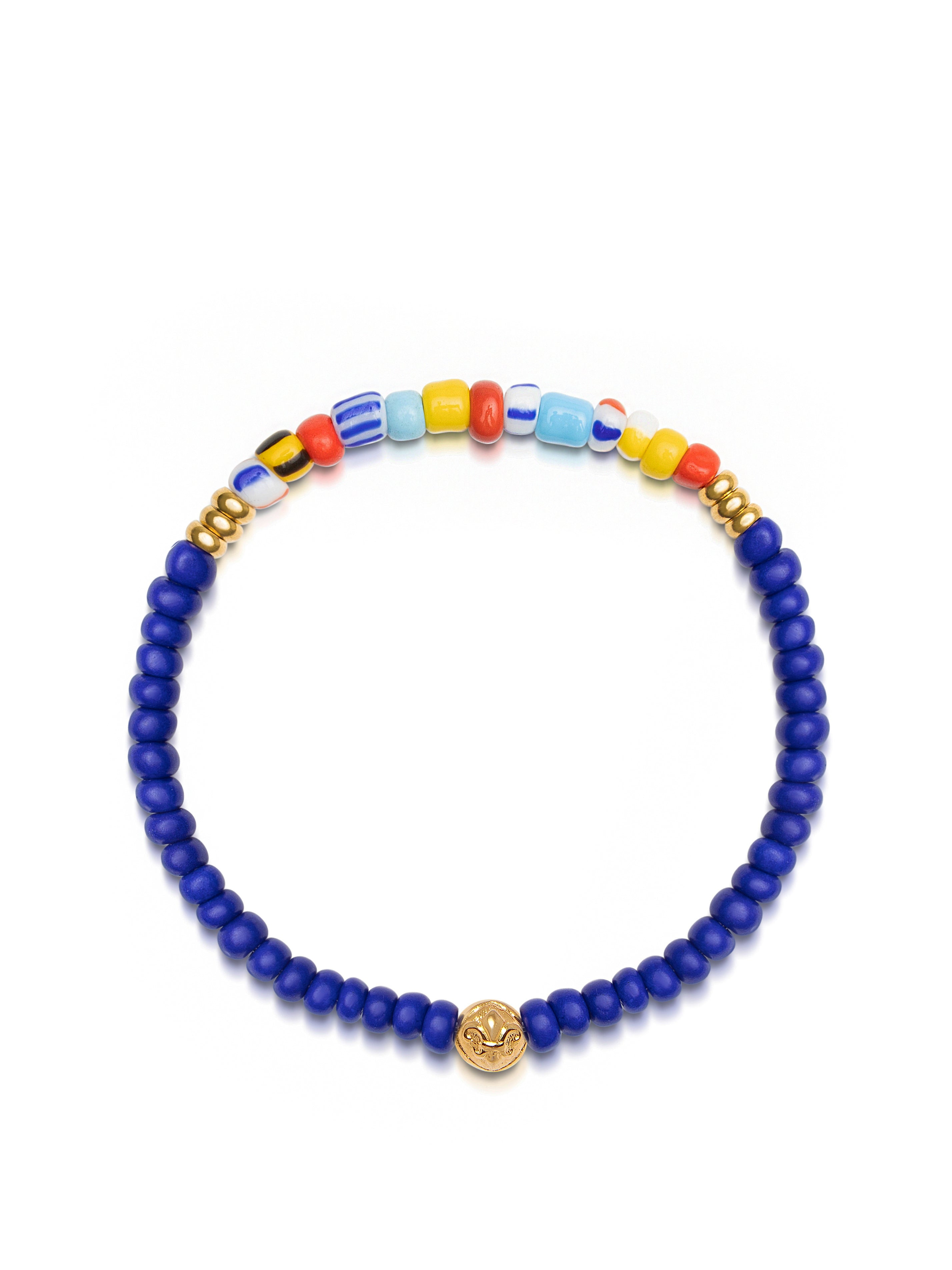 Wristband with Blue Lapis and Colorful Vintage Beads