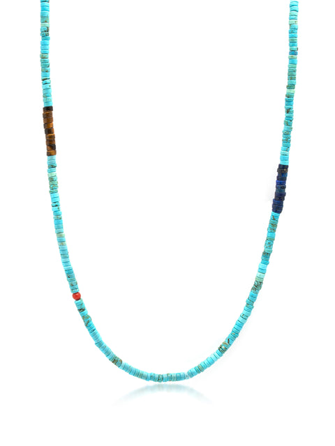 Turquoise Heishi Necklace with Tiger Eye and Blue Lapis