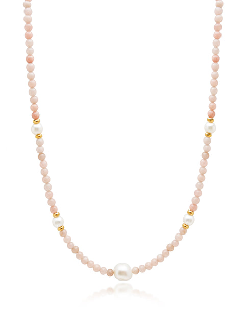 Pink Opal and Baroque White Pearl Choker