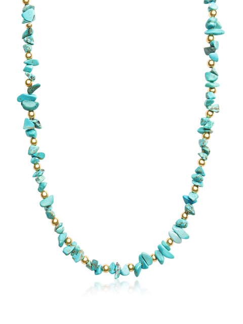 Beaded Choker with Turquoise and Gold