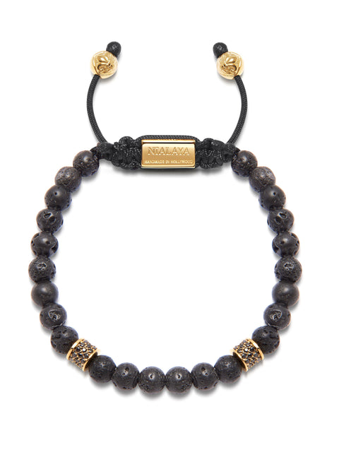 Men's Beaded Bracelet with Lava Stone and Gold/Black - Nialaya Jewelry