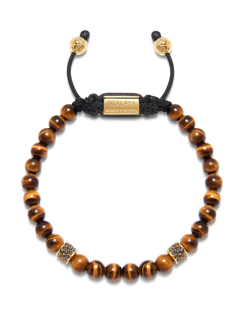 Men's Beaded Bracelet with Brown Tiger Eye and Gold/Black - Nialaya Jewelry