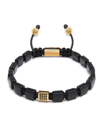 The Mini Flatbead Collection - Matte Onyx and Gold CZ
