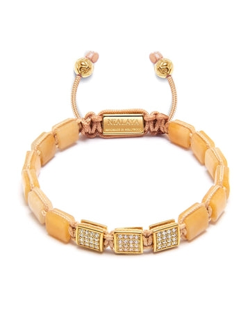 Women's Mini Flatbead Collection - Yellow Moonstone and Gold CZ