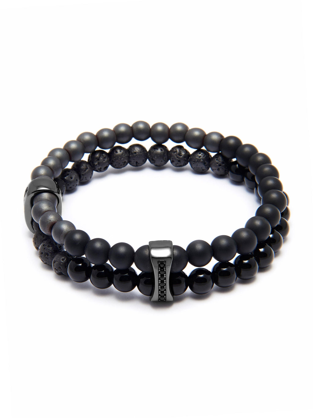 Men's Double Bead Wristband with Matte Onyx, Agate, Lava Stone, and Black Ruthenium Chakra Beads.