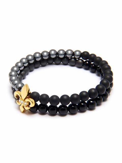 Men's Double Bead Wristband with Hematite, Matte Onyx, Agate and Gold Fleur De Lis