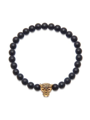 Men's Wristband With Matte Onyx And Gold Panther Head
