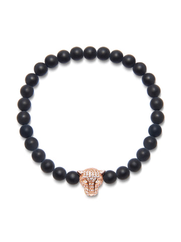 Men's Wristband With Matte Onyx And Rose Gold Panther Head