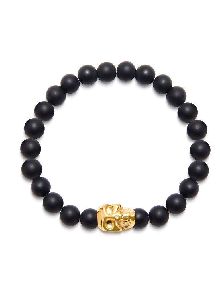 Men's Wristband With Matte Onyx And Gold Skull