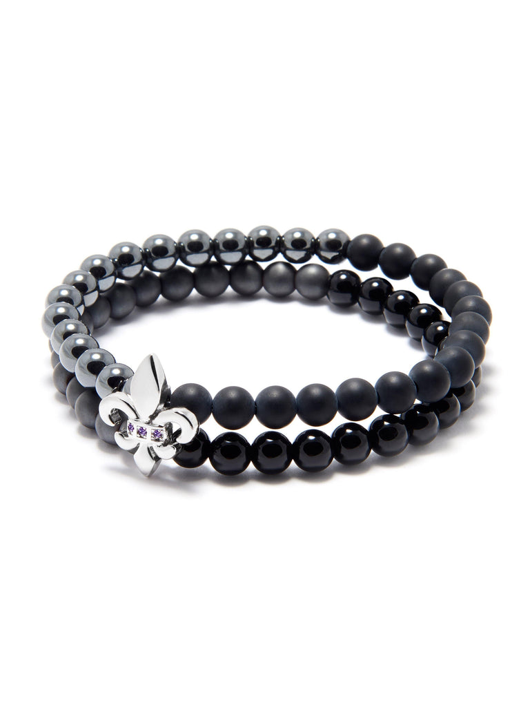 Men's Double Bead Wristband with Hematite, Matte Onyx, Agate and Silver Fleur De Lis