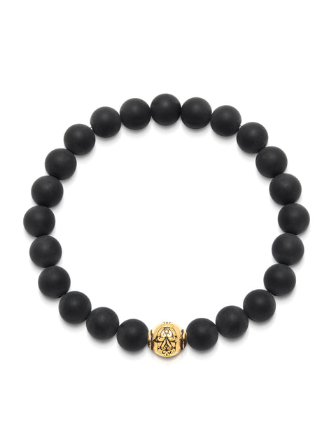 Men's Wristband with Matte Onyx and Gold Hamsa Hand Bead - Nialaya Jewelry