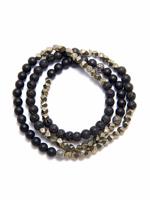 Men's Wrap-Around Bracelet with Lava Stone, Matte Onyx and Iron Pyrite