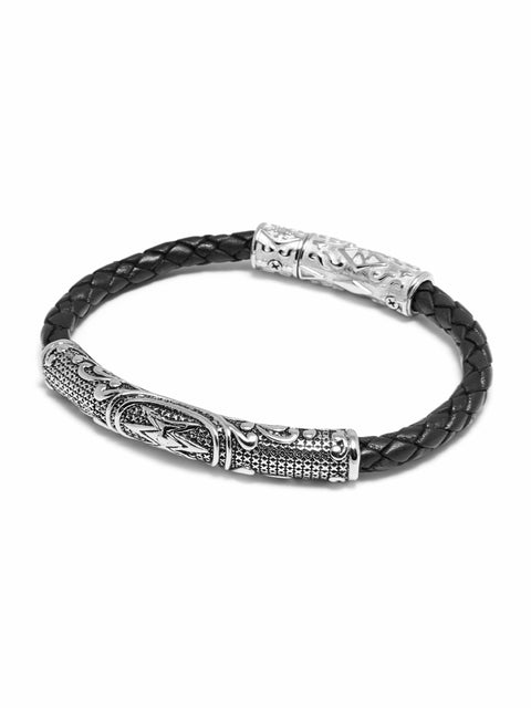 Men's Black Braided Leather with Silver Accent - Nialaya Jewelry