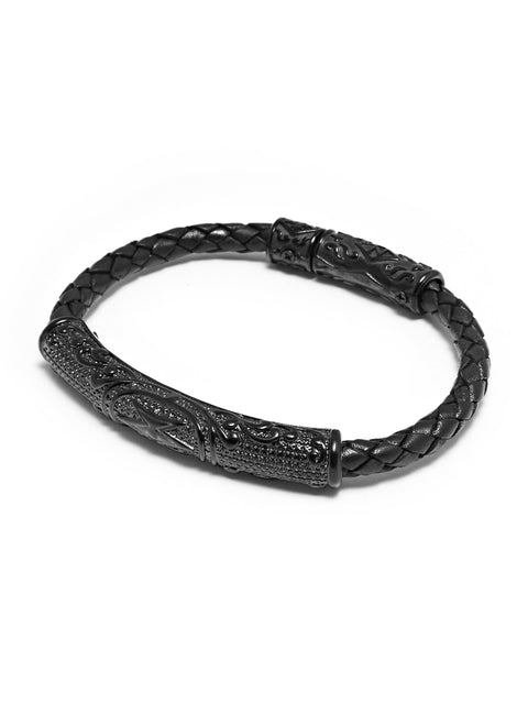 Men's Black Braided Leather with Black Accent - Nialaya Jewelry