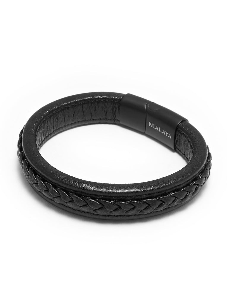 Men's Black Braided Leather with Black Lock