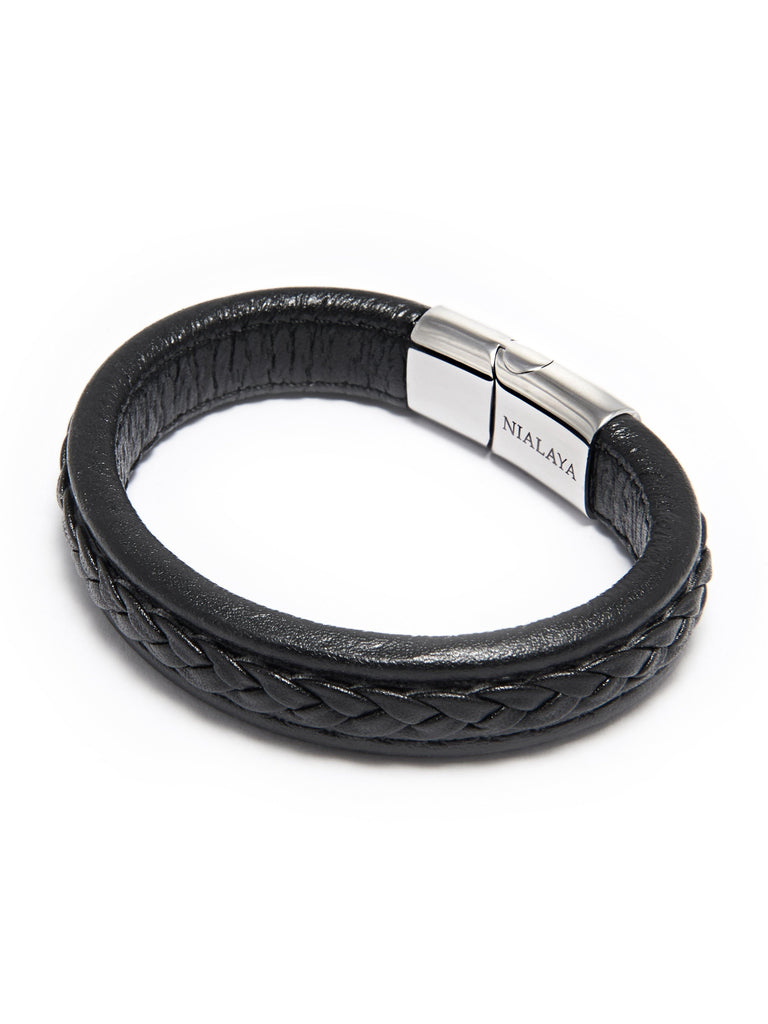 Men's Black Braided Leather with Silver Lock