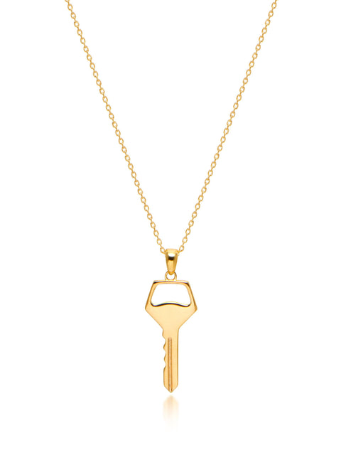 Key Necklace in Gold - Nialaya Jewelry