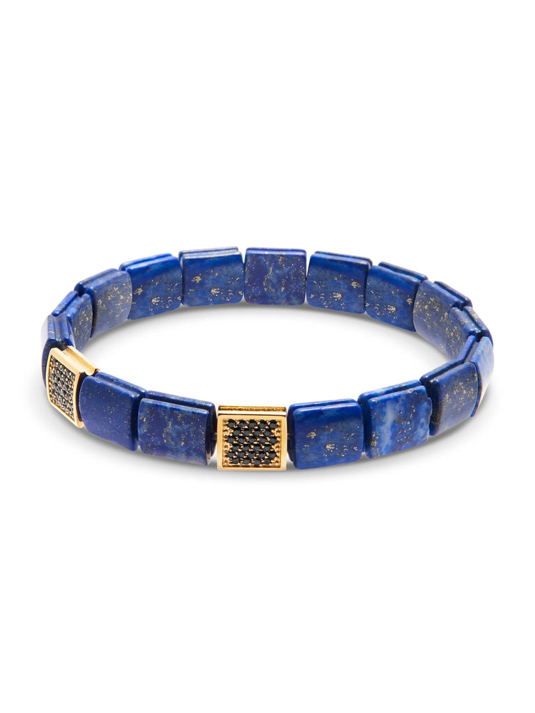 Men's Wristband with Blue Lapis and Black/Gold CZ Flatbeads
